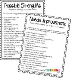 Parent Teacher Conferences: List of possible strengths and areas for improvement for conferences, good referral when jotting up notes for each student. Classroom Behavior, School Classroom, Classroom Management, Classroom Ideas, Bilingual Classroom, Classroom Environment, Primary Classroom, Behavior Management, Teacher Organization