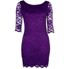 Purple Lace Dress, in black itd be perfect! Pretty Outfits, Pretty Dresses, Beautiful Dresses, Cute Outfits, Dresses Dresses, Purple Outfits, Pretty Clothes, Purple Lace, Purple Dress