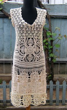 Handmade lace crochet dress- replica fashion style