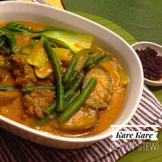 Kare Kare or Peanut Stew is a rich and meaty Filipino stew of oxtails, green beans and eggplant in a sauce thickened with peanut butter. Served on special occasions or as a Sunday meal, Kare Kare is always accompanied by white rice and a bit of sautéed shrimp paste called bagoong alamang.It's a comfort food for Filipinos, and is a perennial family favorite in both local and overseas Filipino households.