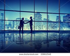 Business People Handshake Silhouette Concept - stock photo