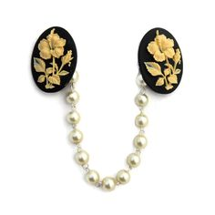 Cardigan Clips, Librarian Style, Collar Clips, Advanced Style, Rockabilly Fashion, Ivory Pearl, Hibiscus, Black Backgrounds, Vintage Fashion