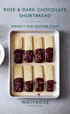 Edd Kimber's shortbread fingers dipped in dark chocolate make a beautiful bake for Mother's Day. For the perfect finish, decorate with dried rose petals. Tap to see the full recipe from Waitrose & Partners. Vegan Xmas Cake, Vegan Cake, Baking Recipes, Cookie Recipes, Dessert Recipes, Sorbet, Waitrose Food, Delicious Desserts, Yummy Food