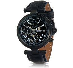 Steinhausen Black IP. Steinhausen Classic Collection Automatic Movement Black Dial Black IP Case Leather Strap Men's Watch!