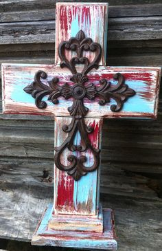Rustic Wooden Freestanding Cross (red/turquoise) on Etsy, $40.00