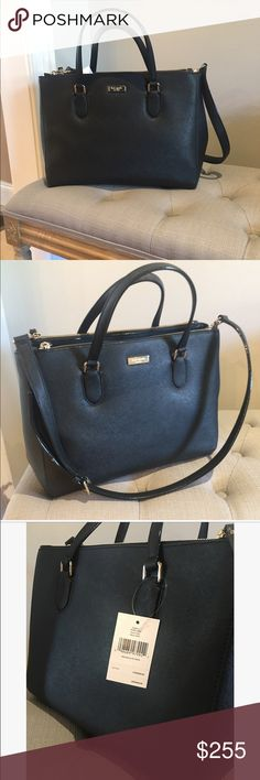 "Kate Spade Leighann Laurel Way Satchel-black Satchel is an authentic Kate Spade, made of real cow hide leather.  Has double zipper compartments. It is brand new, never worn, tags still attached   • Designer: Kate Spade • Color:  Black • Style: satchel • Leather:  Yes (feels like saffiano leather) • Height: 10"" inches • Depth: 6 1/2"" inches • Length: 14"" inches kate spade Bags"