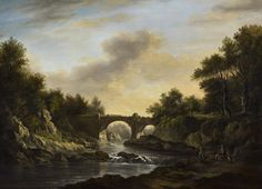 An angler and huntsman near Almondell bridge by Alexander Nasmyth HRSA (Scottish 1758 - 1840)