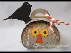Scarecrow on Curvy Keepsake Box . So so cute. More detail at www.frenchiestamps.com on 10-24-14 Blog post at http://www.frenchiestamps.com/2014/10/curvey-kee...