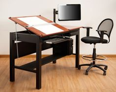 """Freedom Drafting Table 72"""" Wide. The ideal three-in-one space-saving option, this table converts from an angled surface art table to a computer table to a writing desk with a simple touch. Four size options are available to fit your needs.  The built-in grommet holes make the desk easily customizable with a space-efficient computer monitor arm and pole and additional platforms for speakers or printers. A cable management option available for electronic devices. $1109"""