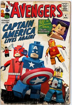 The Avengers #4, Marvel Comics covers Lego-ized  by Mike Napolitan