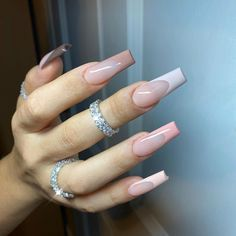 Cute Acrylic Nail Designs, Simple Acrylic Nails, Pink Acrylic Nails, French Acrylic Nails, Square Acrylic Nails, Square Nails, Aycrlic Nails, Swag Nails, Edgy Nails
