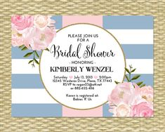Bridal Shower Invitation Slate Blue Pink by SunshinePrintables