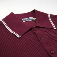 Fred Perry Laurel Wreath Collection Wreath Textured Knit Polo Shirt / Port