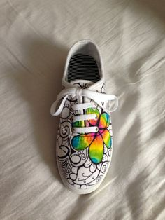 Custom flower doodle shoes by Kelsey Archila.