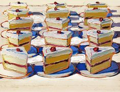 Painting by Wayne Thiebaud (b. Boston Cremes, Oil on canvas.