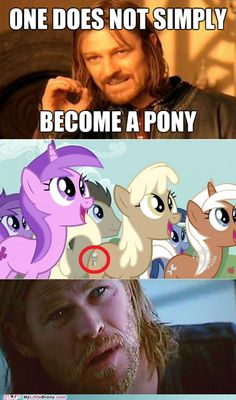 my little pony, friendship is magic, brony - One Does Not Simply... Oh, Wait.    LOL THOR PONY!