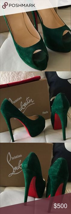 Christian Louboutin Emerald Green Lady Peep 35.5 Gorgeous Christian Louboutin Emerald Green Lady Peep shoes Sz 35.5... These are just simply gorgeous!!!! I'm reposhing them!!! I purchased them about 1 month back and absolutely feel in love with them!!! As soon as i got them i put the vibram red soles on, unfortunately they run a bit small and are a little tight... I hate to part with them but they need to be worn... These are just so gorgeous!! Christian Louboutin Shoes Heels