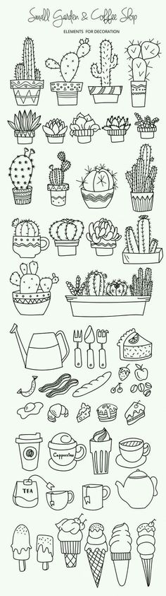 200 Doodle Ideas To try In Your Bullet Journal/ Decorate your Bujo with these doodles. From cute cactus doodles, to sea life, to cute little food. Dress up your Bullet Journal! Doodle Drawings, Doodle Art, Small Doodle, Simple Doodles Drawings, Simple Drawing Designs, Cartoon Drawings, Drawing Ideas Kids, Small Easy Drawings, Cool Designs To Draw