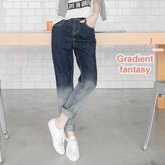 Gradient-Washed Boyfriend Jeans