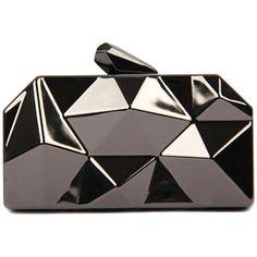 WithChic Gray Irregular Geometrical Metallic Box Clutch Bag ($35) ❤ liked on Polyvore featuring bags, handbags, clutches, purses, сумки, grey purse, geometric purse, metallic clutches, grey handbags and gray handbags