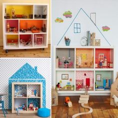 how smart is this? would save so much room and would help keep things tidy!(Puppenhaus selber bauen und Spielecke im Kinderzimmer organisieren) Diy Dollhouse, Bookshelf Dollhouse, Dollhouse Design, Wooden Dollhouse, Deco Design, Home And Deco, Kid Spaces, Girls Bedroom, Diy For Kids