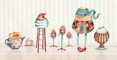 Egg cups by Holly Clifton-Brown Holly Brown, Kitchen Art, Cute Illustration, Illustrators, Abstract Art, Kids Rugs, Drawings, Egg Cups, Journal