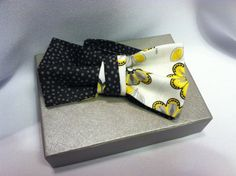 Men's Bow Tie (Charcoal Grey Yellow White) Pre-Tied Bowtie on Etsy, $19.99