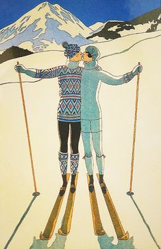 George Barbier Ski Companions Mini Art Print by juliawright Vintage Ski Posters, Retro Poster, Painting Snow, Oil Painting On Canvas, Canvas Paintings, Sign Painting, Fashion Wall Art, Art Deco Fashion, Fashion Vintage