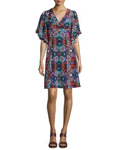 Flutter-Sleeve Floral-Print Dress, Red/Multi, Red Multi - Nanette Lepore