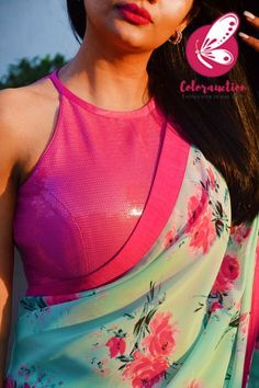 Shop Multicolored Printed Chiffon Georgette Pink Dupion Taping Saree - Sarees Online in India Saree Blouse Neck Designs, Saree Blouse Patterns, Designer Blouse Patterns, Fancy Blouse Designs, Skirt Patterns, Coat Patterns, Sewing Patterns, Stylish Blouse Design, Saree Trends