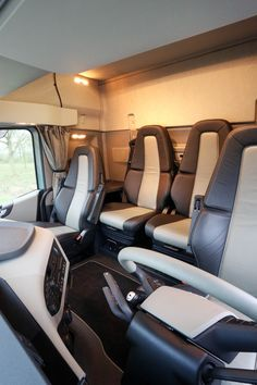 Volvo FH training vehicle with seats, rather than a bunk.