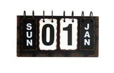 Metal Desk Calendar Vintage Antique Office Decor Retro Flip Rustic Distressed