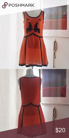 Max C London Dress Blood orange dress by Max C London. Front is embroidered on bust. Hidden side zipper for flattering fit. Fully lined. Size is UK 10 (US 8). Good condition. ❤️feel free to make an offer❤️ Max C London Dresses Mini