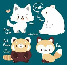 I'm currently in my polar bear inspired onesie. These drawings are adorable. Kawaii Doodles, Cute Kawaii Drawings, Cute Animal Drawings, Cute Doodles, Kawaii Art, Cute Chibi, Cute Characters, Grafik Design, Furry Art