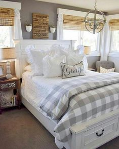 Majestic 13 Stunning Farmhouse Bedroom Design Idea You Should See Having a small room doesn't mean you can't have a dream bedroom design, for example, a farmhouse bedroom design. Although the farmhouse bedroom design… Decoration Gris, Decoration Bedroom, Decoration Design, Home Decor Bedroom, Modern Bedroom, Bedroom Furniture, Contemporary Bedroom, White Bedroom, Furniture Ideas