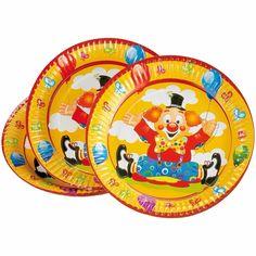 Verjaardag bordjes clowns 8 stuks. Deze gele clowns bordjes zijn verpakt per 8 stuks. Formaat ongeveer: 23 cm. Materiaal: Karton.