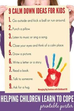 9 Calm Down Ideas for Kids Printable Poster. Families Gloucestershire http://www.familiesonline.co.uk/LOCATIONS/Gloucestershire#.UutlEvl_uuI