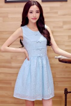Bowknot Sleeveless Lace Dress - OASAP.com
