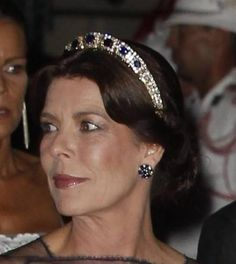 Hereditary Princess Caroline of Monaco, Princess of Hanover and wife of Ernst August, Prince of Hanover, wearing the Sapphire Necklace Tiara, Monaco (sapphires, diamonds).