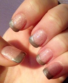 Gel pink and gray French... Subtle twist on the typical French manicure