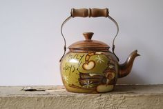Snowman Tea Kettle Christmas Decoration Hand Painted Rustic Snowman Copper Colored Tea Kettle Chilly Days!