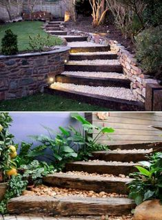 Lovely DIY Garden Pathway Steps On A Slope – Onechitecture - DIY Garten Landschaftsbau Outdoor Steps, Outdoor Landscaping, Outdoor Gardens, Landscaping Ideas, Backyard Ideas, Railroad Ties Landscaping, Shade Landscaping, Walkway Ideas, Large Backyard