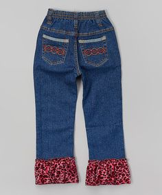 Loving this Fuchsia Leopard Ruffle Jeans - Toddler & Girls on #zulily! #zulilyfinds