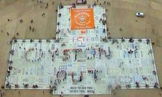 Blackpool fans form 'Oysten Out' banner on the Comedy Carpet #DailyMail