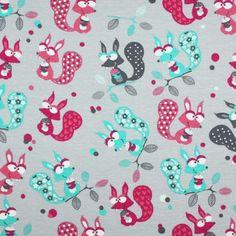 Kinderstoffe Jersey Baumwolle : Kinderstoff Jersey - Eichhörnchen Grau