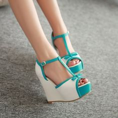 New Women's Wedge High Heels shoes Open Toe Sandals Ankle T-strap Pumps Bowknot in Clothing, Shoes & Accessories, Women's Shoes, Heels Pretty Shoes, Beautiful Shoes, Cute Shoes, Me Too Shoes, Fancy Shoes, T Strap Pumps, T Strap Sandals, Wedge Shoes, Shoes Heels