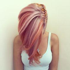 """L O N D O N on Instagram: """"#fruitsalad #pastel #pinkhair #peachhair #orangehair #braids #plait #pleat #bleach #pravana #crazycolour #olaplex"""""""