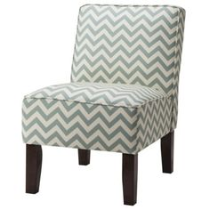 Burke Armless Slipper Chair - Blue Chevron nice for the bedroom.  Or a blue floral.