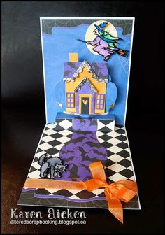 Karen Aicken using the Pop it Ups Lorna Label, Outdoor and Agatha Edges dies by Karen Burniston for Elizabeth Craft Designs. - Altered Scrapbooking: Karen Burniston's September Designer Challenge - Spooky September (Card #1)
