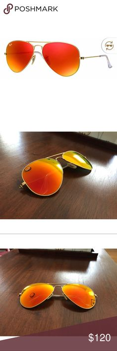 Ray Ban Orange Flash Aviators Really nice sunglasses. Used but no scratches or marks. Will sell with case included. Ray-Ban Accessories Sunglasses